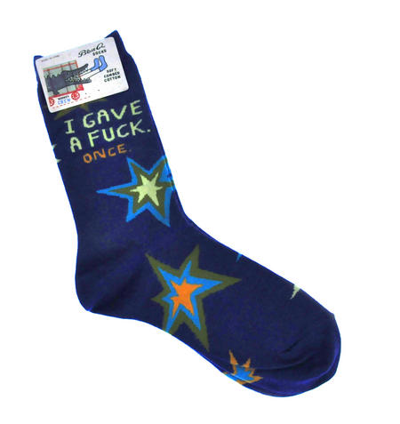 I Gave A F*ck. Once. - Soft Combed Cotton Socks - Women's Crew