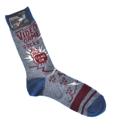 Video Game Socks. Game On, and On, and On - Soft Combed Cotton Socks - Men's Crew