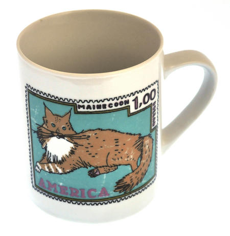 British Maine - 1st Class Mug - Magpie Mug by Charlotte Farmer - Maincoon Cat & British Shorthair Cat