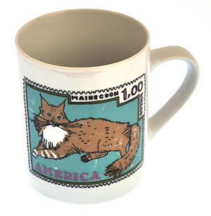 British Maine - 1st Class Mug - Magpie Mug by Charlotte Farmer - Maincoon Cat & British Shorthair Cat Thumbnail 1