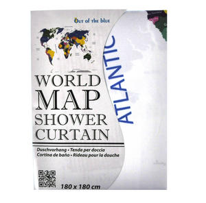 World Map Shower Curtain 180 x 180 cm Thumbnail 4
