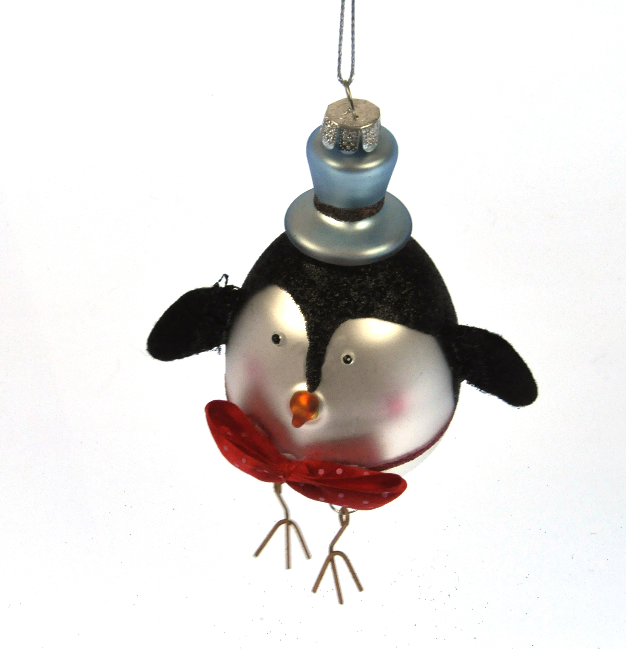 Painted Glass Boy Penguin Christmas Tree Decoration (15cm ...