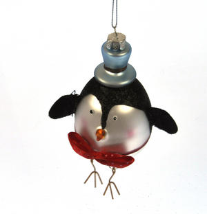 Painted Glass Boy Penguin Christmas Tree Decoration (15cm)