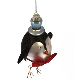 Painted Glass Boy Penguin Christmas Tree Decoration (15cm) Thumbnail 2