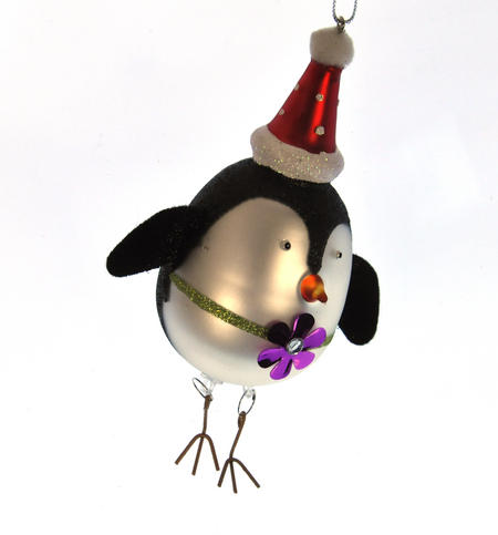 Painted Glass Girl Penguin Christmas Tree Decoration (15cm)