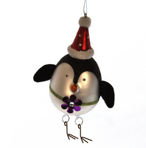 Painted Glass Girl Penguin Christmas Tree Decoration (15cm) Thumbnail 2