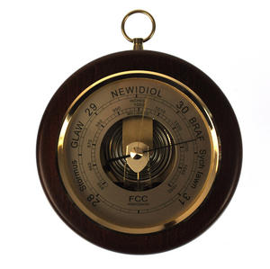 Welsh Language 170mm Barometer Gold / Mahogany Finish Round  - WL 1024 Thumbnail 5