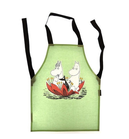 Child's Moomin Apron - Waterlily on Green