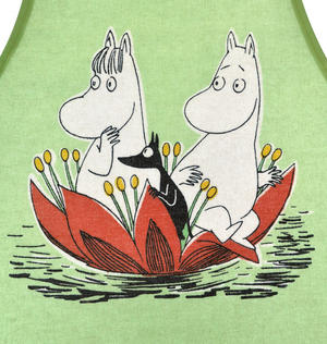 Child's Moomin Apron - Waterlily on Green Thumbnail 2