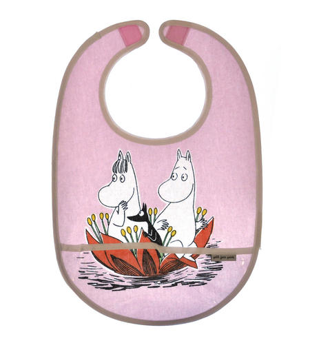 Moomin Bib - Waterlily on Pink