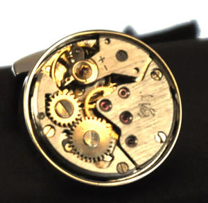 Cufflinks - Steampunk Rhodium Watch Movement Thumbnail 1