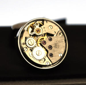 Cufflinks - Steampunk Rhodium Watch Movement Thumbnail 3