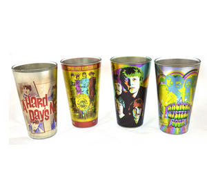 Beatles Metallic Pint Glass Set- 4 Classic Art Psychedelic Glasses Thumbnail 1