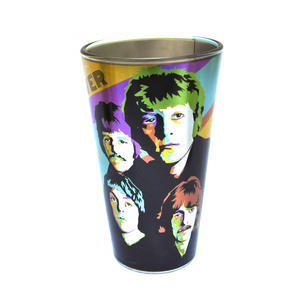 Beatles Metallic Pint Glass Set- 4 Classic Art Psychedelic Glasses Thumbnail 2