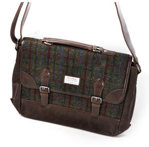 Harris Tweed Green British Briefcase Cross Body Bag