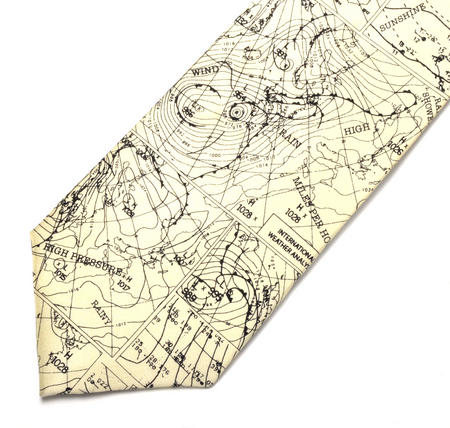 Meteorologist Silk Tie with Weather Maps Design