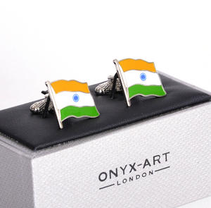 Cufflinks - India Flag - Indian Flying Flag Thumbnail 1