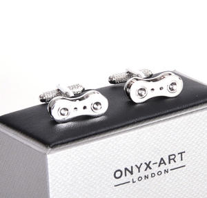Cufflinks - Rhodium Bicycle Chain Link for Cyclists Thumbnail 3