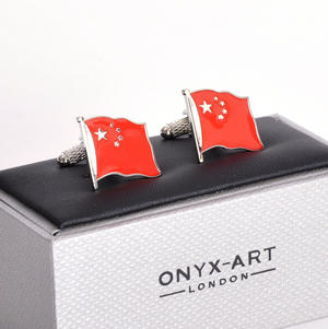 Cufflinks - China Flag - Chinese Flying Flag Thumbnail 1