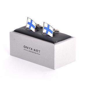 Cufflinks - Finland Flag - Finnish Flying Flag Thumbnail 1