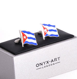 Cufflinks - Cuba Flag - Cuban Flying Flag Thumbnail 1
