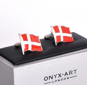 Cufflinks - Denmark Flag - Danish Flying Flag Thumbnail 3