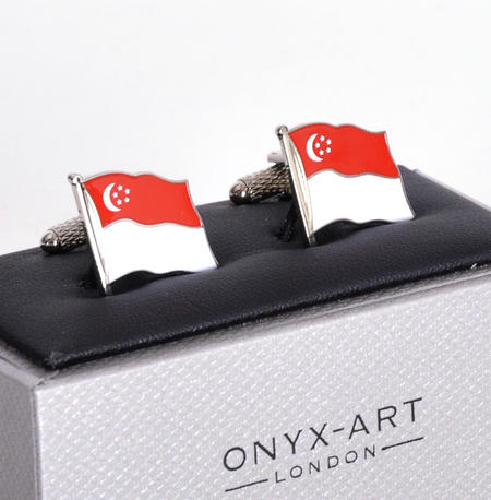 Cufflinks - Singapore Flag - Singaporean Flying Flag