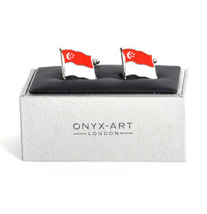 Cufflinks - Singapore Flag - Singaporean Flying Flag Thumbnail 2