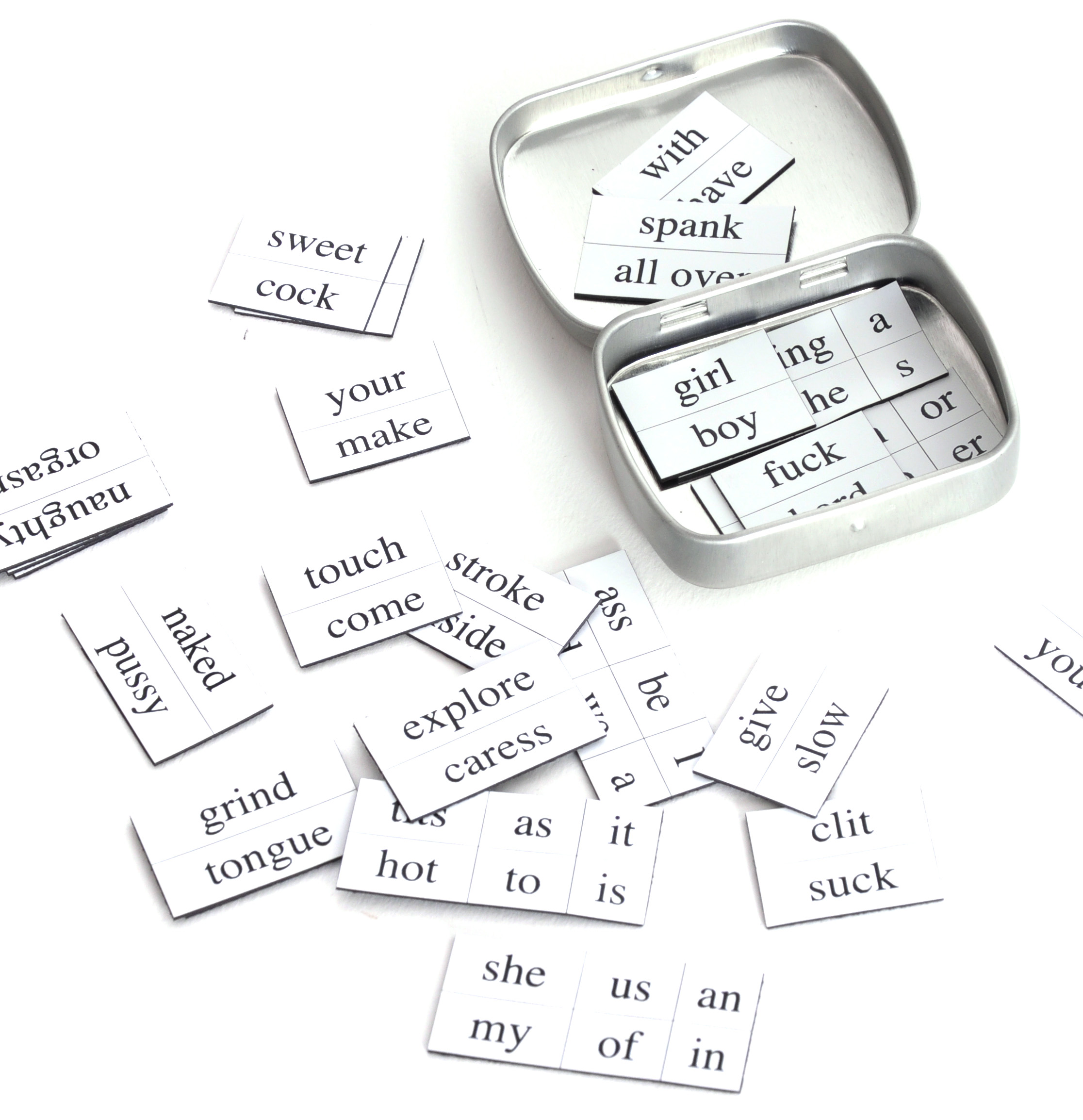 Erotic magnetic poetry