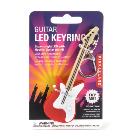Electric Guitar LED Key Ring - Random Red or Black Colours