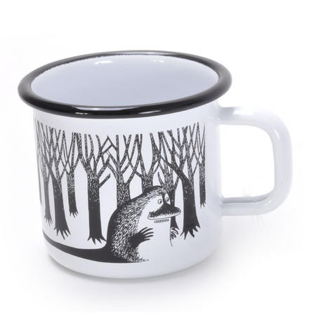 Groke - Black & White Moomin Muurla Enamel Mug - 37 cl