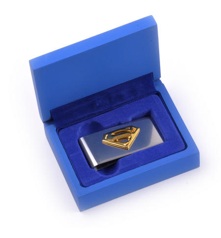 Gold Superman Logo Money Clip - Superman Returns in Wooden Box