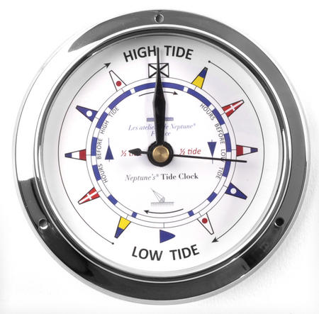 Classic Chromed Flag Dial  Tide Clock 115mm - Neptune's Tide Clock TC 1000 C -CH