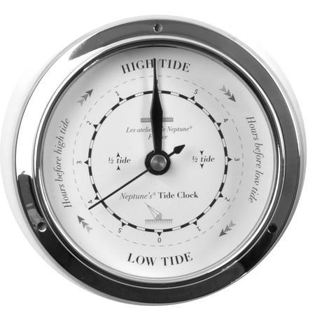 Classic Black on White Dial Chromed Tide Clock  - 115mm Neptune's Tide Clock TC 1000 D -CH