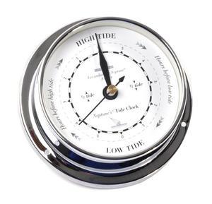 Classic Black on White Dial Chromed Tide Clock  - 115mm Neptune's Tide Clock TC 1000 D -CH Thumbnail 3