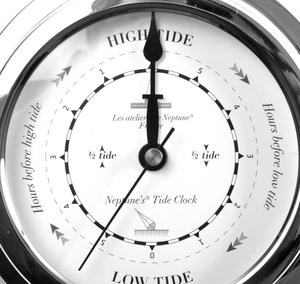 Classic Large Black on White Dial Chromed Dial Tide Clock  - 145mm Neptune's Tide Clock TC 2000 D -CH Thumbnail 1