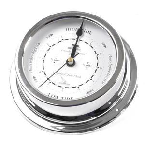 Classic Large Black on White Dial Chromed Dial Tide Clock  - 145mm Neptune's Tide Clock TC 2000 D -CH Thumbnail 2