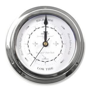 Classic Large Black on White Dial Chromed Dial Tide Clock  - 145mm Neptune's Tide Clock TC 2000 D -CH Thumbnail 3