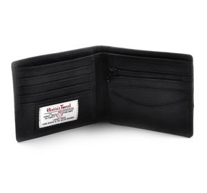 Harris Tweed Fronted Leather Grey Wallet with Embossed British Crest Logo Thumbnail 2