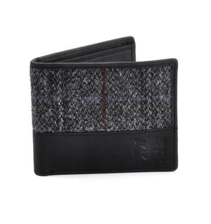 Harris Tweed Fronted Leather Grey Wallet with Embossed British Crest Logo Thumbnail 4