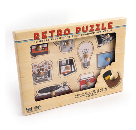 Retro Technology Wooden Peg Puzzle - Record Player, Reel to Reel, Cassette, Typewriter, Floppy Disc etc