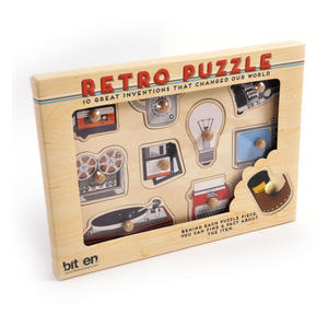 Retro Technology Wooden Peg Puzzle - Record Player, Reel to Reel, Cassette, Typewriter, Floppy Disc etc Thumbnail 1
