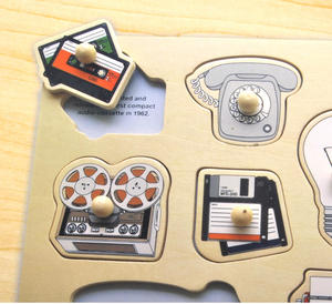 Retro Technology Wooden Peg Puzzle - Record Player, Reel to Reel, Cassette, Typewriter, Floppy Disc etc Thumbnail 4