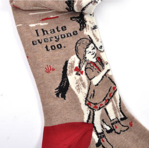 I Hate Everyone Too - Soft Combed Cotton Socks - Women's Crew Thumbnail 1