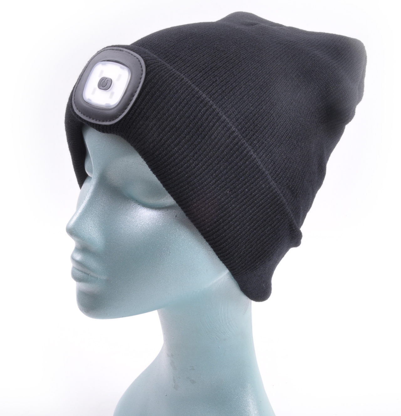 Black LED Beanie - Beanie hat with built in LED torch.  bc00bca0908a