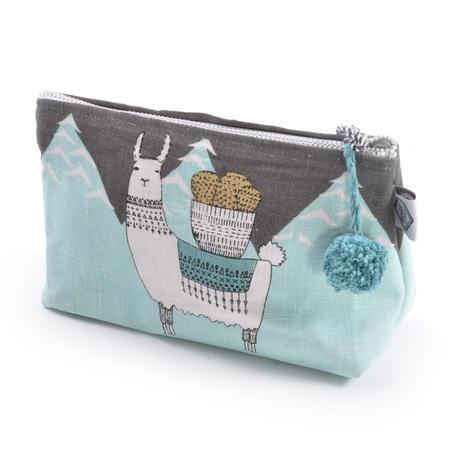 Mountain Llama - Small Cosmetics Make Up Bag - Lamarama By Danica Studios