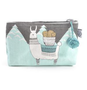 Mountain Llama - Small Cosmetics Make Up Bag - Lamarama By Danica Studios Thumbnail 2