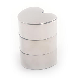 Love heart  Jewellery Boxes - Interlinked Polished Steel Stack Thumbnail 3