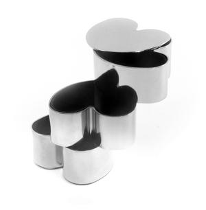 Love heart  Jewellery Boxes - Interlinked Polished Steel Stack Thumbnail 7