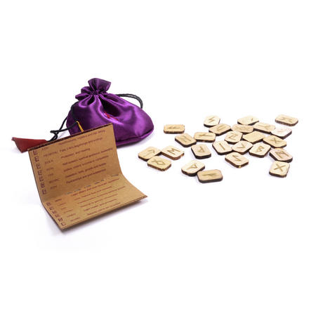 Wooden Runes Set with Pagan Futhark Runic Symbols